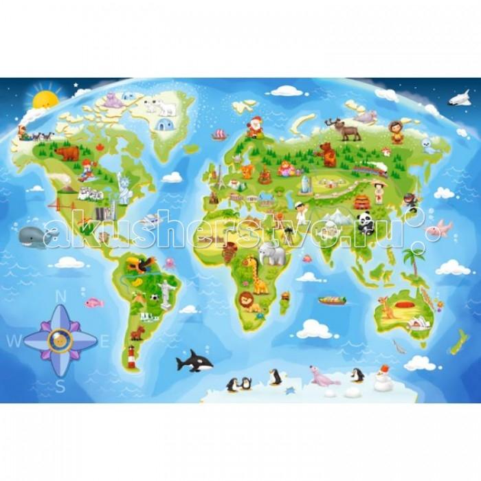 Castorland Пазл MAXI  Карта мира 40 элементовПазл MAXI  Карта мира 40 элементовПазл MAXI Карта мира состоит из 40 крупных элементов, поэтому подойдет малышам с 4 лет. Картинка довольно красочная и привлекательная.   Пазл MAXI Карта мира поможет малышам начать изучать страны мира и их особенности.  Складывание пазлов довольно полезное занятие для всех возрастов. Оно помогает развивать логическое мышление, внимание, воображение и, конечно же, моторику рук, что очень важно для детей дошкольного возраста.  Размер собранной картинки: 59 x 40 см<br>