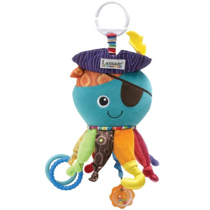 Подвесная игрушка Lamaze Капитан КальмарКапитан КальмарРазвивающая игрушка Капитан Кальмар - многофункциональная игрушка для развития малыша.   У него шуршащая шляпа, зеркальце на животе, а щупальца - все разные. На одном - два резиновых рельефных колечка, которые можно использовать в качестве прорезывателя. На другом - полупрозрачная круглая погремушка с разноцветными бусинами внутри.   К тому же, щупальца разных цветов, причем на одном из них есть яркий ботиночек, одно щупальце атласное, а еще одно - плюшевое с атластным ботинком.  Возраст: от 3 месяцев  Габариты: Ширина: 12.5 см.; Высота: 25.4 см.; Глубина: 10 см.<br>