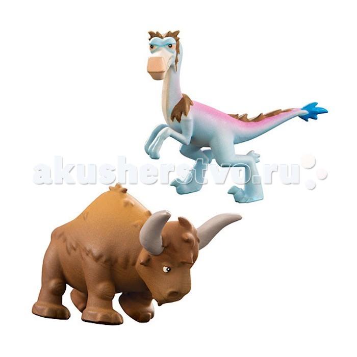 Good Dinosaur Фигурки Кеттл и РапторФигурки Кеттл и РапторGood Dinosaur Фигурки Кеттл и Раптор яркие и симпатичные, в точности похожи на анимационных героев студии Disney Pixar.   Особенности: По сюжету мультфильма The Good Dinosaur Раптор - коварный предводитель шайки, которая мечтает увести быка-другого у фермера Бура.  Кеттл - бык-бизодон из стада тираннозавра Бура. Сила рапторов в их стратегии: они нападают группой. Но и длиннорогие быки не так просты и неповоротливы, какими кажутся!  Набор поможет разыграть увлекательные сцены противостояния Раптора и быка Кеттла. Кто же победит?<br>