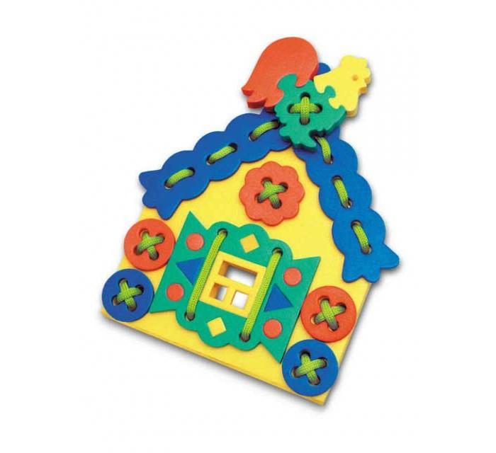 Развивающая игрушка Флексика Шнуровка ТеремокШнуровка ТеремокФлексика Шнуровка Теремок направлена на развитие у ребёнка памяти, воображения, фантазии, моторики, пространственного и логического мышления.   Развивающие игры Флексика сделаны из отечественного полимерного материала, легкого, современного и самое главное – безопасного для детей.   Особые свойства материала позволяют экспериментировать с водой и превратить купание в интересный и увлекательный процесс: достаточно, например, пазлам и наборам для ванной намокнуть, как они прилипают к любым гладким поверхностям.  Особенности: Обучение происходит в процессе игры.  Благодаря особой структуре материала и свойству прилипать к мокрой поверхности, является идеальной игрушкой для ванны.  Материал: пенополиэтилен.  Содержит мелкие детали.<br>