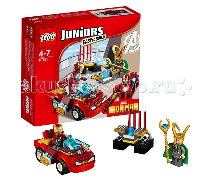 Конструктор Lego Juniors 10721 Лего Джуниорс Железный человек против ЛокиJuniors 10721 Лего Джуниорс Железный человек против ЛокиКонструктор Lego Juniors 10721 Лего Джуниорс Железный человек против Локи   Коварный Локи завладел Космическим Кубом и с его помощью стремится изменить нашу реальность. Но, его планам не суждено сбыться! Для сражения со столь изобретательным и хитрым злодеем, команда Мстителей отправила Железного человека. Только его сердце, защищённое броней и энергореактором, неподвластно чарам скипетра Локи.   Поэтому супергерой решил не проявлять излишней враждебности и приехал к логову Локи на своём любимом спортивном автомобиле. Его корпус выполнен из ярко-красных деталей с добавлением наклеек и золотых элементов. Центральную часть занимает кабина водителя с приборной панелью и голубым ветровым стеклом. Ходовая часть представлена четырьмя широкими колёсами с рифлёными шинами. Благодаря дополнительным обвесам, машина имеет обтекаемую форму, соответствующую всем требованиям аэродинамики.  Размер автомобиля Железного человека – 4х9х6х см.  В наборе Лего 10721 Вы найдёте 2 минифигурки: Локи и Железный человек, а также аксессуары для весёлой игры: Космический Куб, дисплей для хранения Куба с лазерной защитой и скипетр Локи.  Количество деталей: 66 шт.<br>