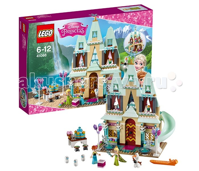 Конструктор Lego Disney Princesses 41068 Лего Принцессы Дисней Праздник в замке ЭренделлDisney Princesses 41068 Лего Принцессы Дисней Праздник в замке ЭренделлКонструктор Lego Disney Princesses 41068 Лего Принцессы Дисней Праздник в замке Эренделл   Эльза и Олаф готовятся к празднованию Дня рождения Анны. Для этого они украсили замок множеством ярких аксессуаров. На бежевых фасадах появились декоративные гирлянды из разноцветных флажков, а на подоконниках – горшки с цветами. Самая высокая башня замка заблестела хрустальной снежинкой, а вокруг главным ворот выстроились ледяные фонтаны и букеты из воздушных шаров.   На заднем дворе Эльза накрыла пышный стол с двухъярусным тортом, фруктовыми пирожными и бокалами для лимонада. Внутренне убранство замка также претерпело изменения. В многочисленных комнатах и залах спрятались подарки и сюрпризы для именинницы, отыскать которые будет не так уж просто.  Из деталей набора Лего 41068 Вы сможете собрать подробную модель замка Эренделл. На его первом этаже располагается просторный зал с камином, ковром, диваном, картиной, вазой и старинными часами. В их механизме спрятан один из подарков для Анны. Это отлично наточенные коньки. Также сюрпризом ко Дню рождения послужат поздравительные письма и цветы. Поднявшись на второй этаж, можно очутиться в королевской спальне Анны. Здесь есть небольшой камин, столик, огромная кровать с балдахином и, конечно же, красиво упакованная коробка с подарком для именинницы.  Размер замка в собранном виде составляет 27х22х13 см.  В наборе Вы найдёте фигурку Олафа и 3-х мини-снеговиков, а также 2 минифигурки: Эльза и Анна.  Количество деталей: 477 шт.<br>