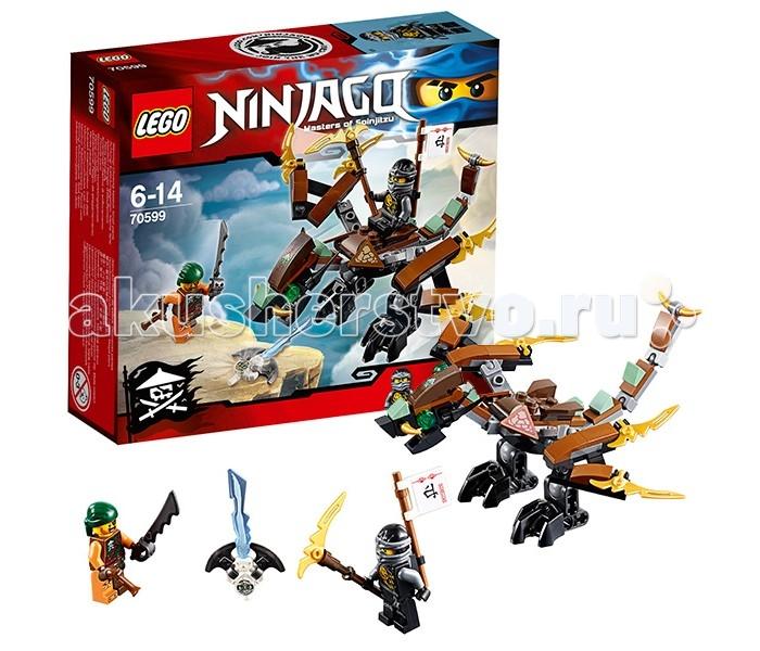 Конструктор Lego Ninjago 70599 Лего Ниндзяго Дракон КоулаNinjago 70599 Лего Ниндзяго Дракон КоулаКонструктор Lego Ninjago 70599 Лего Ниндзяго Дракон Коула   Зейн, заточённый в магический Джинн-клинок, спрятан на одном из парящих островов. Его охрана доверена небесному пирату, вооружённому мечом и пистолетом. Но боевых навыков этого разбойника окажется явно недостаточно, когда из-за облаков появится Коул верхом на драконе. Со скоростью ветра чёрный ниндзя промчится над островом, обезоружит пирата и завладеет клинком.  В наборе Лего 70599 Вы найдёте множество деталей для создания Дракона Коула. Его тело выполнено из коричнево-чёрных деталей. Спереди видна вытянутая голова с изумрудными глазами, золотыми рогами и открывающейся пастью. За ней предусмотрено седло для ниндзя, закреплённое на спине дракона.   По бокам от седла располагаются крылья с симметричными золотыми лезвиями. В паре с ядовитым хвостом они выполняют атакующую и оборонительную функции. Благодаря шарнирному строению суставов, дракон способен двигать шеей, крыльями, ногами и хвостом. Это позволяет принимать множество боевых поз, как в воздухе, так и на земле.  Размер дракона в собранном виде составляет 7х18х18 см.  В наборе присутствуют 2 минифигурки с оружием: небесный пират и Коул.  Количество деталей: 98 шт.<br>