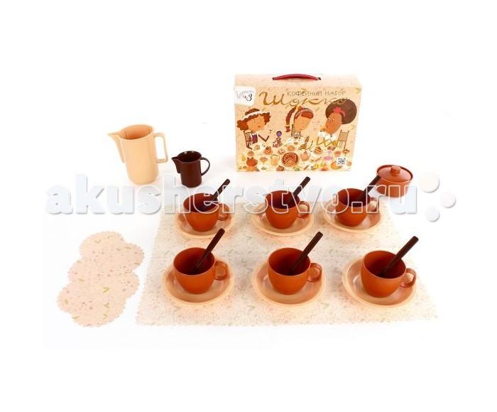 Росигрушка Набор посуды кофейный ШоккоНабор посуды кофейный ШоккоРосигрушка Набор посуды кофейный Шокко в коричнево - бежевых тонах изготовлен из качественного прочного пластика отечественным производителем Рославльская игрушка.   Игрушка предназначена для сюжетно-ролевых игр, поможет ребенку познакомиться с навыками сервировки стола, благодаря тому, что в наборе есть не только посуда, но и элементы декора в виде скатерти и салфеток, игра будет еще более реалистичной.   В данном наборе сервиз рассчитан на шесть персон и полностью укомплектован всеми необходимыми предметами: молочник, сахарница, блюдца, чашки, ложки, чайник, скатерть и бумажные салфетки.<br>