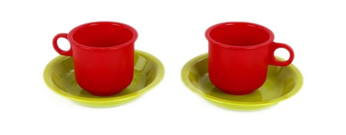Росигрушка Набор посуды Кружки-подружкиНабор посуды Кружки-подружкиРосигрушка Набор посуды Кружки-подружки предназначен для сюжетно-ролевых игр, поможет ребенку познакомиться с навыками сервировки стола.  Вся посуда изготовлена из водоотталкивающей нетоксичной пластмассы и абсолютно безопасна для хрупкого детского здоровья.  В комплекте: чашки - 2 шт. блюдца - 2 шт.<br>