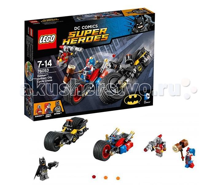Конструктор Lego Super Heroes 76053 Лего Супер Герои Бэтман: Погоня на мотоциклах по Готэм-ситиSuper Heroes 76053 Лего Супер Герои Бэтман: Погоня на мотоциклах по Готэм-ситиКонструктор Lego Super Heroes 76053 Лего Супер Герои Бэтман: Погоня на мотоциклах по Готэм-сити   Суперзлодейка Харли Квинн решила объединиться с самым метким стрелком по прозвищу Дэдшот, чтобы уничтожить благополучные кварталы Готэма и навести ужас на их жителей. Сначала всё шло по плану: Дэдшот лавировал между домами при помощи своего реактивного ранца и вёл прицельный огонь из огромной базуки, в то время как Харли разрушала всё на своём пути, используя молот, прикреплённый к мотоциклу. Конечно же, такие злодейские выходки не остались незамеченными!   На перехват преступников выехал Бэтмен на скоростном мотоцикле. Его обтекаемый корпус выполнен из серо-чёрных деталей с добавлением жёлтых акцентов. Прочная подвеска базируется на двух гигантских колёсах с рифлёными шинами. Между ними устроено место водителя, оборудованное рычагами управления и противотуманными фарами.   Главной особенностью Бэтцикла является строение задней оси. Над выхлопными трубами располагаются две подвижные подножки, служащие креплениями для бэтаранга, бэткрюка и двух пушек с системой самонаведения.  В наборе Лего 76053 Вы найдёте детали для создания 2 супермотоциклов и 3 минифигурки с оружием и аксессуарами: Харли Квинн, Дэдшот и Бэтмен.  Количество деталей: 224 шт.<br>