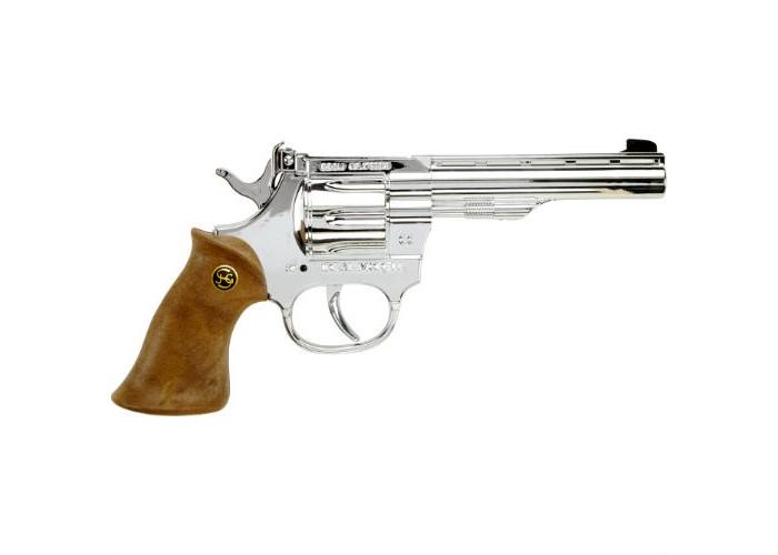 Schrodel Игрушечное оружие Пистолет Kadett silberИгрушечное оружие Пистолет Kadett silberИгрушечное оружие Schrodel Пистолет Junior 200 — отличный выбор для маленьких любителей приключений, вестернов и борьбы со злом.  Отличный серебряный 100-зарядный револьвер Kadett silber — орудие грозы Дикого Запада. Такой подарок понравится вашему маленькому ковбою, как и любому мальчишке. Расскажите ребенку о героях Дикого Запада и о героях современности, помогите в создании сюжета полезной для ребенка игры. Активные игры с игрушечными пистолетами развивают в мальчишках физическое здоровье, ловкость, сноровку, мышление.  Размер: 19 см Ёмкость магазина: 100 пистонов  Игрушечное оружие от немецкой компании Schrodel — лучшие игрушки для военных и схожих социально-ролевых играх для мальчишек. Сделайте игру в «войнушку» полезной для ребенка, расскажите ему о настоящих героях, о том, как важно защищать слабых и творить добро. Помогите ребенку понять важные ценности и жизненные принципы в активной игре про борьбу с преступностью.  Schrodel — один из лучших немецких производителей игрушечного детского оружия отличного качества. Все игрушки компании выполнены из нетоксичных и качественных материалов, безопасных для здоровья ребенка.  Обязательно ознакомьтесь с инструкцией и соблюдайте меры безопасности.<br>