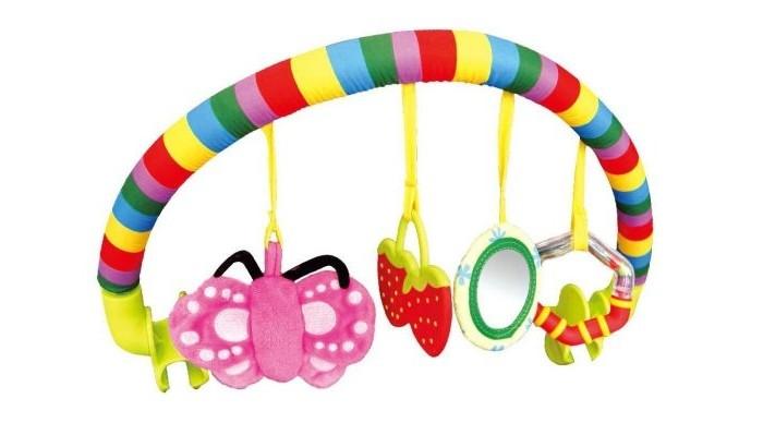 Жирафики Дуга с подвесками ЛетоДуга с подвесками ЛетоДуга с подвесками Лето крепится с помощью специальных прищепок к коляске, автокреслу или детской кроватке.   Яркие игрушки-подвески привлекают внимание малыша и развлекают его.   К дуге Лето крепятся четыре подвески: мягкая игрушка Бабочка, пластиковая игрушка Клубнички, безопасное зеркальце, погремушка.  Играя, ребенок развивает мелкую моторику рук, слух, эмоциональное, зрительное восприятие и тактильные ощущения.<br>