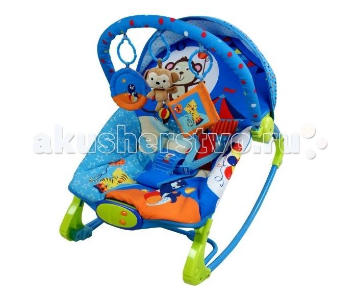 Жирафики Кресло-качалка ЦиркКресло-качалка ЦиркМалыш никак не может успокоиться и заснуть? Посадите его в кресло-качалку. Равномерное покачивание успокоит ребенка, а забавные и милые игрушки-подвески развлекут непоседу.  Кресло оборудовано игровой дугой и тентом. На панели управления - две кнопки: проигрывание мелодий и вибрация. Проигрыватель воспроизводит 10 мелодий, имеется регулировка громкости звука. Вы можете выбрать один из трех уровней вибрации для укачивания ребенка. Спинка кресла фиксируется в трех различных положениях (три уровня наклона). Кресло выдерживает ребенка массой до 15 кг. К дугам крепятся игрушки-подвески: мартышка-погремушка, книжка-шуршалка, безопасное зеркало.  Наличие батареек: не входят в комплект. Тип батареек: 2 x C / LR14 1.5V (малые бочонки). Размер упаковки: 55 х 9 х 39 см. Вес: 3.4 кг.<br>