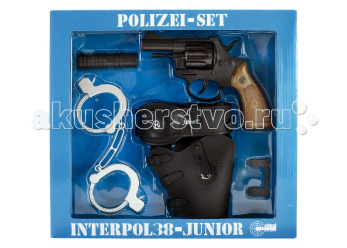 Schrodel Набор Полиция с игрушечным пистолетом Interpol38 Junior 12-ShotНабор Полиция с игрушечным пистолетом Interpol38 Junior 12-ShotНабор Schrodel Полиция с игрушечным пистолетом Interpol38 Junior 12-Shot  — отличный выбор для маленьких любителей приключений, вестернов и борьбы со злом  Ваш ребенок защищает слабых и любит фильмы про полицейских? Тогда Набор «Полиция с пистолетом Interpol38 Junior 12-Shot» - один из лучших подарков для маленького полицейского. В набор входят игрушечный револьвер, кобура, глушитель и наручники. Пистоны приобретаются отдельно. Помогите вашему ребенку понять, что такое добро и зло, справедливость, честность и помощь другим.  Ёмкость магазина: 8 пистонов  Schrodel — один из лучших немецких производителей игрушечного детского оружия отличного качества. Все игрушки компании выполнены из нетоксичных и качественных материалов, безопасных для здоровья ребенка.  Обязательно ознакомьтесь с инструкцией и соблюдайте меры безопасности.<br>