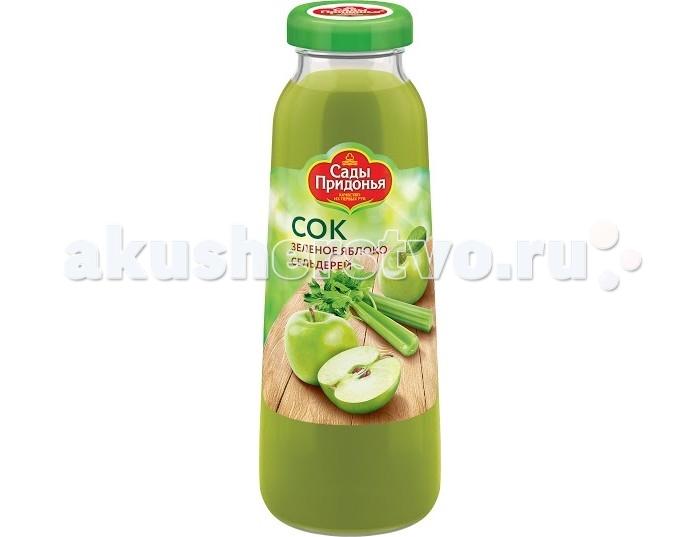 Сады Придонья Сок Зеленое яблоко и сельдерей 0.3 лСок Зеленое яблоко и сельдерей 0.3 лСок Зеленое яблоко и сельдерей  Сок из яблока и сельдерея создан для людей, которые не просто дорожат своим здоровьем, но желают его приумножить и укрепить.   Зеленые яблоки в дуэте с сельдереем являются настоящим «эликсиром жизни», способным избавить организм от множества недугов и придать ему сил и энергии. Непросто найти достойную альтернативу сельдерею, ведь все части этого удивительного растения богаты полезными витаминами А, группы B, PP, C, K, а также железом, кальцием, магнием, фосфором, фолиевой кислотой, натрием и марганцем – такая «таблица Менделеева» помогает ослабшему после болезни организму прийти в норму и стать «спасательным кругом» от вирусов и инфекций.   Сок из яблок и сельдерея должен быть в ежедневном меню каждого, кто следит за стройностью фигуры, так как этот сок обладает уникальной особенностью - при переваривании сока организм тратит больше энергии, чем получает, поэтому этот продукт идеальный помощник при диетическом питании.  Особенности: С мякотью Стерилизованный Гомогенизированный Перед употреблением взбалтывать.  Состав: яблочный сок пюре сельдерея.<br>