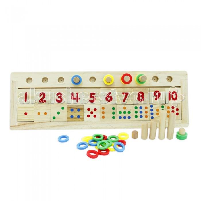 Деревянная игрушка Фабрика фантазий ЛС настольная игра СчетЛС настольная игра СчетДеревянная игрушка Фабрика Фантазий ЛС настольная игра Счет. Логическая игра Счет - яркая увлекательная, и в то же время простая развивающая игра для обучения счету.   В набор входят: деревянные карточки с цифрами и точечками, палочки и раноцветные колечки.   В непренужденной игровой форме ребенок осваивает элементарный счет и изучает основные цвета, учится соотносить и правильно расставляет колечки в соответствии с числом, указанным на карточке, а также количеством и цветом точичек, тренерует мелкую моторику рук, развивает логическое мышление и координацию движений. Игрушка сделана из экологически чистого и долговечного материала - дерева.<br>