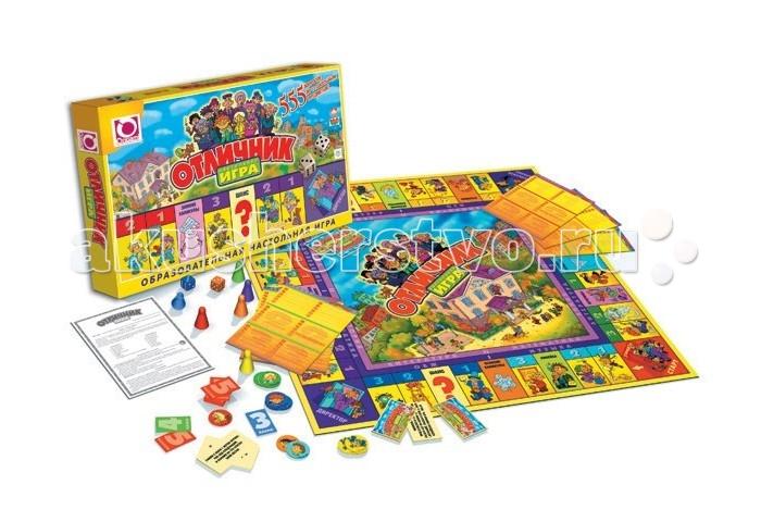 Origami Настольная игра ОтличникНастольная игра ОтличникOrigami НИ Отличник.  Настольная игра Отличник подойдет для того, чтобы развивать интеллект. Настольная образовательная игра содержит 555 вопросов по разным предметам, которые дети изучают школу – все 12 предметов. Игра образовательная с двумя уровнями сложности.   В комплекте:  Правила игры 1 шт.  Игровое поле 1 шт.  Карточки ШАНС 36 шт.  Карточки Оценка: 3 балла 8 шт. 4 балла 8 шт. 5 баллов 8 шт. 5.  Жетоны игрока 96 ШТ  Тематические карты с вопросами 16 шт.  Кубики 2 шт.  Фишки игроков 4 шт.  Коробка 1 шт.  Количество игроков: 2-4  Длительность партии: 30 мин.<br>