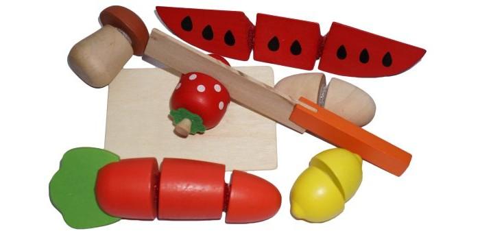 Деревянная игрушка Mapacha Набор продуктыНабор продуктыПродукты, входящие в комплект игры, состоят из нескольких частей, соединенных между собой липучками.   Задача ребенка - разделить игрушечные продукты на части с помощью деревянного ножа.   Этот набор прекрасно подходит для сюжетно-ролевой игры и способствует развитию координации движений рук.<br>
