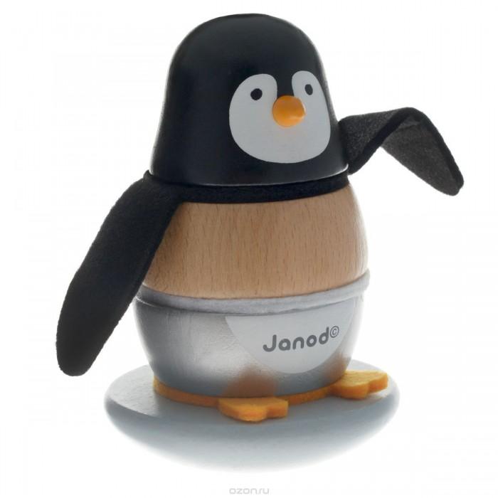 Деревянная игрушка Janod пирамидка Пингвинчикпирамидка ПингвинчикИгрушка-пирамидка Пингвинчик - отличный выбор для самых маленьких. Французский производитель Janod позаботился о том, что бы сделать эту игрушку максимально привлекательной и безопасной для малышей. Игрушка выполнена из натуральной экологически чистой древесины и окрашена безвредными красками на водной основе.   Эта игрушка многофункциональна. Яркая и забавная фигурка разбираются на составные части и ребенку придется приложить усилие, что бы собрать их в том же порядке. Платформа качается и поэтому ребенок получает представление о равновесии, а еще их можно считать.   Игрушка упакована в подарочная коробку.  Особенности игрушки:  - подвижная деревянная платформа с деревянным штырем -3 деревянных блока - 3 мягких детали из текстиля - подарочная коробка.  Размер игрушки (ШхГхВ): 9 х 9 х 13.5 см Размер упаковки (ШхГхВ): 9.7 х 9.7 х 1.8 см Вес: 350 г Материал: дерево<br>