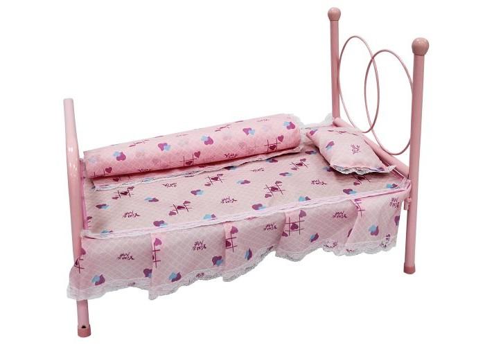 Кроватка для куклы Shantou Gepai 44х26х33 см44х26х33 смМеталлическая сборная кроватка для куклы с комплектом постельного белья.  Игрушка предназначена для сюжетно-ролевых игр.  Размер кроватки (ДхШхВ): 44х26х33 см.  Кровать прекрасно дополнит интерьер кукольной комнаты и порадует Вашего ребенка.  В процессе сюжетно-ролевой игры Дочки-матери ребенок выстраивает социальные отношения между участниками и лучше начинает чувствовать свое социальное место, учится общаться, развивает фантазию, приучается к ответственности, осознает свои права и обязанности, получает трудовые навыки.<br>
