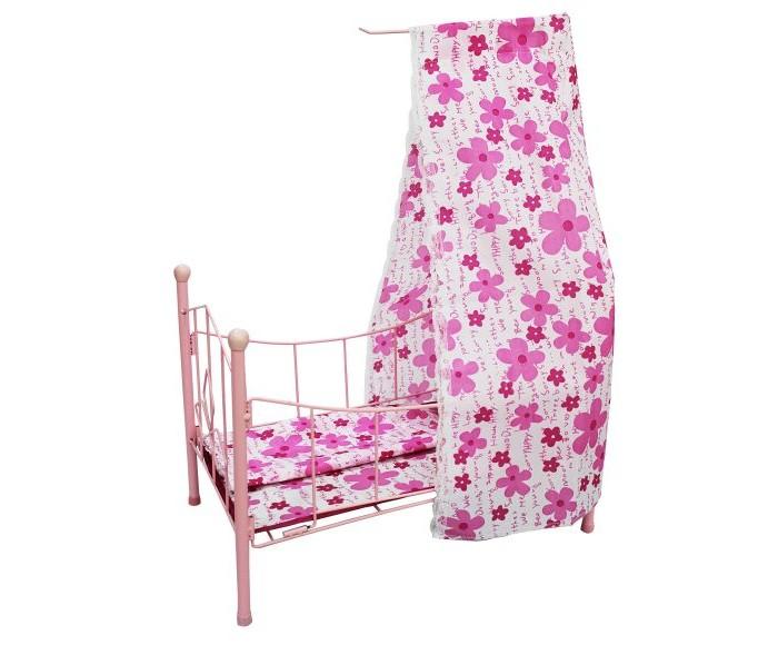 Кроватка для куклы Shantou Gepai с балдахиномс балдахиномМеталлическая сборная кроватка для куклы с комплектом постельного белья и балдахином.  Игрушка предназначена для сюжетно-ролевых игр.  Размер кроватки (ДхШхВ): 42х25х59 см.  Кровать прекрасно дополнит интерьер кукольной комнаты и порадует Вашего ребенка.  В процессе сюжетно-ролевой игры Дочки-матери ребенок выстраивает социальные отношения между участниками и лучше начинает чувствовать свое социальное место, учится общаться, развивает фантазию, приучается к ответственности, осознает свои права и обязанности, получает трудовые навыки.<br>