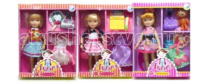 Shantou Gepai Кукла Ardana с аксессуарамиКукла Ardana с аксессуарамиКукла Ardana с аксессуарами. У куклы подвижные ручки и ножки на шарнирах.  Комплектность: кукла шляпка сумочка платье  Товар представлен в ассортименте. Комплектация у разных наборов может отличаться.<br>