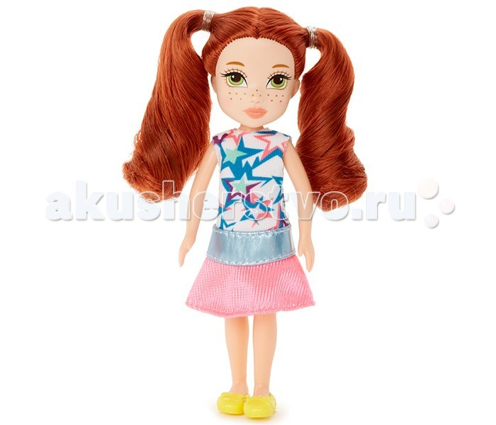 Moxie Кукла Mini ТаллиКукла Mini ТаллиMoxie Кукла Mini Талли предназначена специально для интересных игровых сюжетов. Выполнена она из высококачественного пластика, обладает роскошными и густыми рыжими волосами, яркими зелеными глазами и россыпью веснушек на светлом лице.    Волосы ее собраны в два хвоста, но их можно распустить и расчесывать или делать иные прически. Одета Талли в яркий топик с узором из цветных звездочек и светло-розовую короткую юбочку. На ногах ее желтые туфельки.  Личико куклы очень миловидное. Острый подбородок, миндалевидные глаза очень характерны для кукол Moxie. Руки и ноги Талли подвижны в плечах и бедрах.<br>