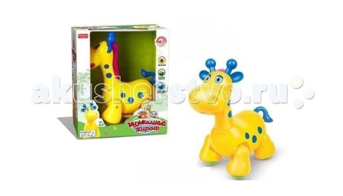 Shantou Gepai Музыкальный жирафикМузыкальный жирафикЭтот жирафик - забавная музыкальная игрушка для самых маленьких.   Игрушка развлечет малыша веселой песенкой (исполняется на русском языке).   К тому же жирафик умеет ходить, передвигая лапками и поворачивая шею.   Грива жирафика подсвечивается разноцветными огоньками, а хвост можно крутить (при этом деталь игрушки издает звук - треск).  Музыкальный жирафик работает от 3 батареек АА (в комплект не входят).<br>