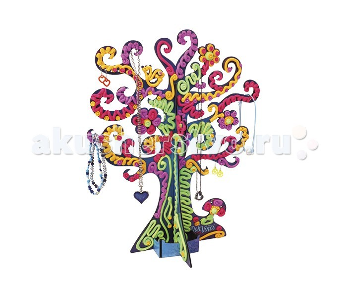DohVinci Набор для творчества Дерево с драгоценностямиНабор для творчества Дерево с драгоценностямиDohVinci Набор для творчества Дерево с драгоценностями необычный набор сочетающий в себе возможность проявить фантазию и воображение, художественный вкус, развить мелкую моторику рук, а также получить уникальный предмет интерьера - украшенную собственными руками подставку под украшения, в виде фантастического дерева!  Материал, с помощью которого Вам предстоит украшать подставку для бижутерии, напоминает пластилин. Однако, в отличии от пластилина, формующаяся масса со временем затвердевает. Кроме того, для работы с этим материалом необходим специальный инструмент - стайлер.  В комплекте: 4 тюбика с пластилином DohVinci, стайлером и деревом, которое предстоит раскрасить.   Установив дерево, заправь стайлер цветным пластилином, надави на курок и пластилин начнет выдавливаться тонкой линией, из которой можно создавать самые причудливые узоры. Меняя цвета пластилина в стайлере, украшай веточки на дереве, а если захочешь сделать узор потолще - нажми посильнее на стайлер и лента станет объемнее. Пластилин достаточно быстро высыхает, а получившийся узор не меняет своего вида, прочно держась на дереве.<br>