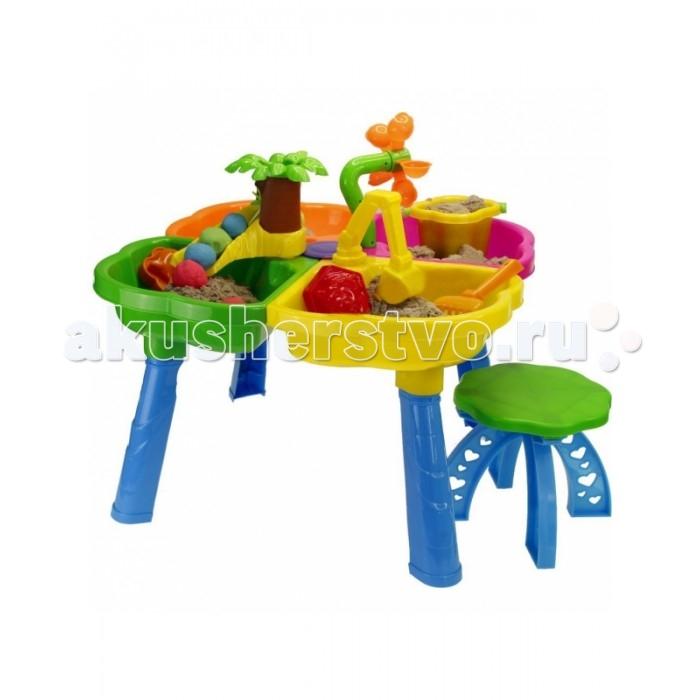 R-Toys Столик-песочница Kinderway НаборСтолик-песочница Kinderway НаборR-Toys Набор для песка Kinderway - идеальное место для разнообразных игр. Вместе с друзьями Ваши дети могут лепить из песка, ставить опыты на воде и наблюдать за результатами, играть в настольные игры.   Особенности: Столик имеет 4 отсека, расположенных рядом друг с другом. Они одинаково могут быть использованы как для песка, так и для воды.  На столе есть игровая мельница для воды, через которую вода переливается без перерыва, ковш экскаватора, которым можно копать песок, горка в виде пальмы для игры с шариками из песка.  Стол легко собирается и также легко разбирается.  Для игры в песочнице в комплекте можно найти лопатку, грабельки и формочки, чтобы лепить из песка фигурки.  Стол-песочницу можно установить как на улице, так и в любой комнате. Простой монтаж.  Все детали выполнены из качественной пластмассы.  Идеальный высококачественный пластик, не подверженный выгоранию на солнце и деформации от перепада температур.  Кроме пользы от развлечений и игры, этот необычный стол способен решать серьезные воспитательные задачи, развивает много хороших качеств: дружелюбие, заботу, внимательность, ответственность, смелость, терпение и увлеченность. Малыши будут учиться взаимодействовать друг с другом и приобретут навыки игры в коллективе. Этот стол украсит любую дачу и станет любимым местом для игр Вашего ребенка и его друзей.  Рекомендуется для детей от 1-2 лет.  Рекомендуем устанавливать на ровной устойчивой поверхности.  Удобная высота стола: 37 см, ширина:59 см. Стул высотой:21,5 см, ширина: 27,5 см.<br>