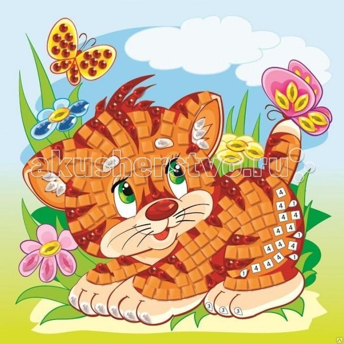Origami Мозаика самоклеющая Тигренок с бабочкойМозаика самоклеющая Тигренок с бабочкойOrigami Мозаика самоклеющая Тигренок с бабочкой.  Мозаика по номерам — первая настоящая мозаика для малыша! С ее помощью он не только сделает своими руками красивую вещицу, но и обучится цифрам, счету, основам логического мышления. В комплекте есть самоклеящиеся квадратики с обозначением цифр на внутренней стороне, которые необходимо прикреплять на картинку, соотнося с цифрами на рисунке.   Отдельные части рисунка украшаются стразами и бусинками. В результате получится чудесная картина, которая будет достойна украсить любую комнату! А кроме того, ее можно повесить на холодильник благодаря магнитной основе.<br>