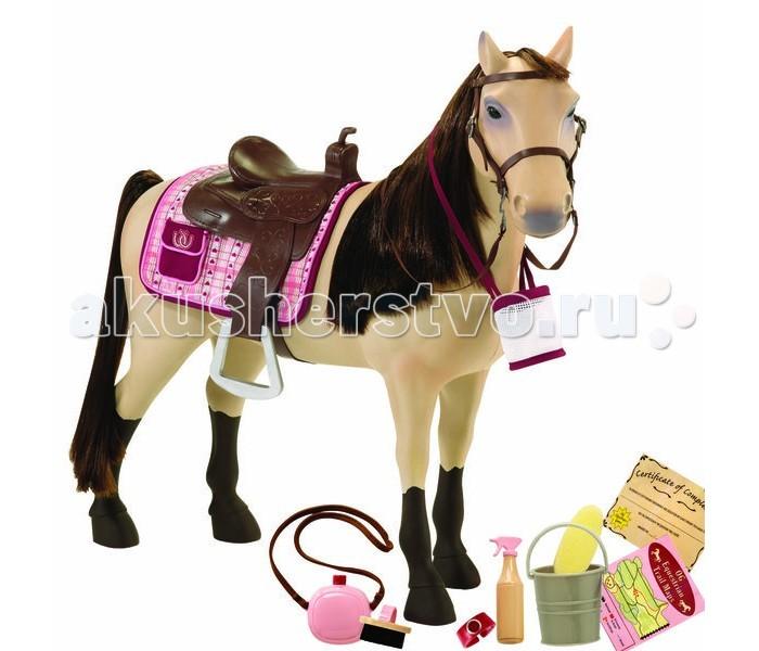 Our Generation Dolls Лошадь 50 см со сгибающими суставамиЛошадь 50 см со сгибающими суставамиOur Generation Dolls Лошадь 50см со сгибающими суставами порода Морган.  Великолепная игрушечная лошадь породы Морган с пушистой гривой и роскошным хвостом. Ноги лошади сгибаются и могут принимать любое положение как у настоящего животного.  В комплекте: лошадь со сгибающимися ногами седло уздечка с тканевыми поводьями потник 1 мешок для корма фляжка 1 губка ведро 1 щетка бутылка с пульверизатором наручные часы диплом об участии в соревнованиях по верховой езде маршрутная карта каталог модной одежды. Размер жеребенка Д х В х Ш: 47 х 51 х 9 см Размер упаковки: 49 х 15 х 58 см<br>