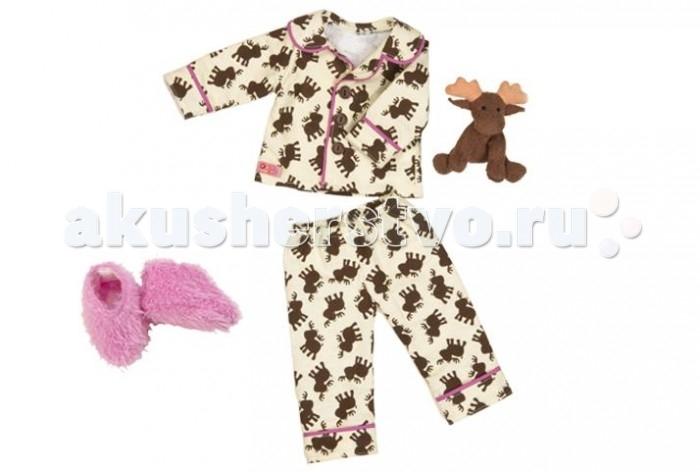 Our Generation Dolls Одежда для куклы 46 см 11577Одежда для куклы 46 см 11577Our Generation Dolls Одежда для куклы 46 см: ночная пижама, тапочки, игрушка.  Одежда для куклы канадского бренда OG Dolls станет Вашим любимым нарядом, от которого вам будет очень сложно в дальнейшем отказаться. Вся жизнь юных девочек состоит из самых приятных вещей: нравящиеся цвета одежды и игрушек, любимое мороженое, самое интересное животное и, конечно же, самый модный розовый жилет. Без такого атрибута одежды Ваша девочка, как самая большая модница, не сможет обойтись, ведь он подарит ей чувство стиля и придаст уверенность в своем соответствии самым последним новинкам моды.   С таким набором одежды Ваша девочка будет играть в самые разнообразные сюжетно-ролевые игры и придумывать новые увлекательные истории. Играя с одеждой, ребенок разовьет сообразительность, фантазию, логику, находчивость, мелкую моторику, тактильные ощущения и познакомится с модой. Для того, чтобы Ваша девочка еще ближе ощутила стильную жизнь, в наборе предусмотрен каталог с модными вещами. Одежда предназначена для кукол в 46 сантиметров и рассчитана на детей после трех лет. Набор упакован в красивую праздничную упаковку и будет замечательным подарком к любому детскому торжеству.  1 плюшевый лосик  1 уютная рубашечка 1 штанишки, тапочки  1 модный каталог одежды для кукол.<br>