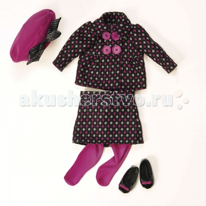 Our Generation Dolls Одежда для куклы 46 см 11522Одежда для куклы 46 см 11522Our Generation Dolls Одежда для куклы 46 см: Костюм в горошек, берет, колготки, туфли.  Одежда для куклы канадского бренда OG Dolls станет Вашим любимым нарядом, от которого вам будет очень сложно в дальнейшем отказаться. Вся жизнь юных девочек состоит из самых приятных вещей: нравящиеся цвета одежды и игрушек, любимое мороженое, самое интересное животное и, конечно же, самый модный розовый жилет. Без такого атрибута одежды Ваша девочка, как самая большая модница, не сможет обойтись, ведь он подарит ей чувство стиля и придаст уверенность в своем соответствии самым последним новинкам моды.   С таким набором одежды Ваша девочка будет играть в самые разнообразные сюжетно-ролевые игры и придумывать новые увлекательные истории. Играя с одеждой, ребенок разовьет сообразительность, фантазию, логику, находчивость, мелкую моторику, тактильные ощущения и познакомится с модой. Для того, чтобы Ваша девочка еще ближе ощутила стильную жизнь, в наборе предусмотрен каталог с модными вещами. Одежда предназначена для кукол в 46 сантиметров и рассчитана на детей после трех лет. Набор упакован в красивую праздничную упаковку и будет замечательным подарком к любому детскому торжеству.  Этот набор одежды – эталон изысканности и он по праву считается самым любимым костюмом молодежи. Наряд состоит из удивительно красивого берета, который украшен великолепным бантиком в горошек. Также в комплекте Вы найдете куртку в горошек, на которой расположены красивые пуговицы. Юбка в горошек красивейшего дизайна сделает образ сказочным и задорным. На куклу надеты колготки, отлично гармонирующие с общим комплектом. Пара обуви делает наряд законченным и подчеркнуто элегантным.<br>