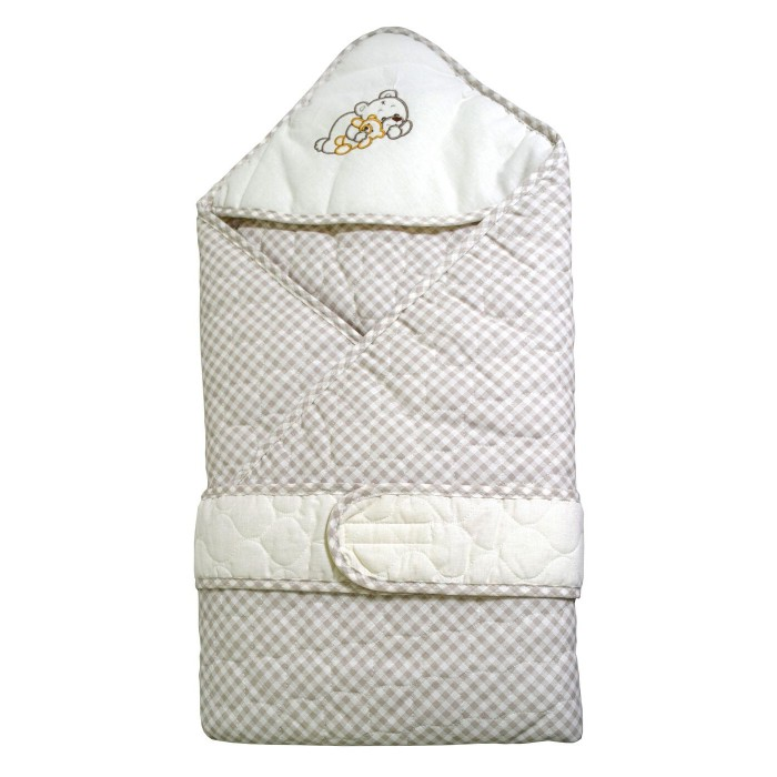 Bombus Конверт-одеяло МимиКонверт-одеяло МимиОдеяло сворачивается конвертом и закрепляется.   Быстрое и комфортное одевание малыша очень важно как для мамы, так и для малыша.   Одеяло изготовлено из качественных материалов (100% хлопок). Очень легкое и комфортное. Внутренний слой из хлопкового трикотажа. Утеплен синтепоном.   А сочетание клетки цвета «капучино» очень гармонично смотрится с нежным молочным, просто не может не очаровать с первого взгляда!  Сворачивается конвертом и закрепляется поясом.  Данный изделие из стеганной ткани очень теплое  Материал: бязь стеганая, синтепон Размер: 110х110 см Отделка: вышивка<br>