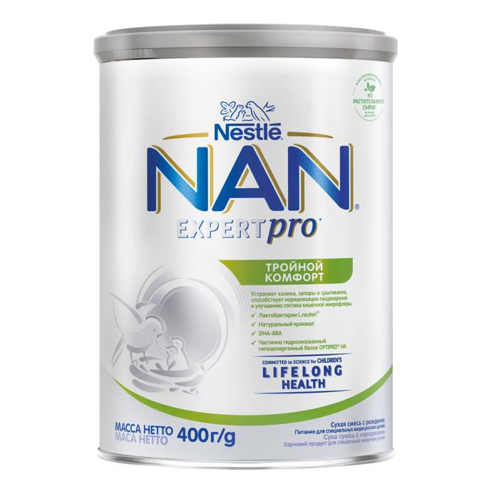 NAN Молочная смесь Тройной комфорт с 0 мес. 400 гМолочная смесь Тройной комфорт с 0 мес. 400 гNAN Молочная смесь Тройной комфорт с 0 мес. 400 г разработана для предотвращения колик и запоров, нормализует пищеварение и улучшает кишечную микрофлору.  Особенности: Смесь обеспечит ребенка всеми витаминами и микроэлементами необходимыми для полноценного роста и развития.  Смесь специально разработана для предотвращения колик и запоров, нормализует пищеварение и улучшает кишечную микрофлору. Также в состав смеси входят умные липиды, которые насыщают организм жирными кислотами, укрепляющими иммунную систему и зрение. Легко усваивается. Особые жирные кислоты (DHA, ARA) способствуют оптимальному развитию мозга и зрения. Содержит гидролизированный гипоаллергенный белок. Содержит пребиотики ГОС/ФОС.  Состав: астительные масла (подсолнечное высокоолеиновое масло, кокосовое, рапсовое нзкоэруковое, подсолнечное, пальмовый олеин, масло из Мортиереллы Альпины), лактоза, картофельный крахмал, частично гидролизованный белок молочной сыворотки, олигосахариды (ГОС, ФОС), фосфат кальция, хлорид магния, хлорид калия, мальтодекстрин, рыбий жир, L-аргинин, гидрофосфат натрия, смесь витаминов (С, пантотеновая кислота, РР, Е, В2, А, В1, В6, D3, К1, фолиевая кислота, В12, биотин), L-гистидин, хлорид натрия, холин, L-тирозин, таурин, инозит, сульфат железа, нуклеотиды, L-карнитин, сульфат цинка, лактобактерии L.reuteri 10^6 КОЕ/г, сульфат меди, сульфат марганца, йодид калия, селенат натрия.  Необходима консультация специалистов.  Молочная смесь предназначена для питания детей с 0 месяцев.<br>