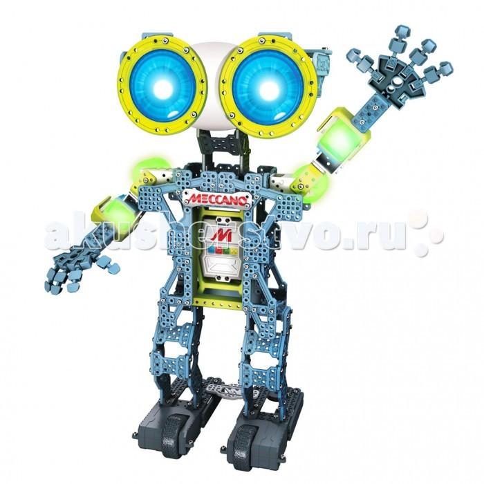 Конструктор Meccano Робот Меканоид G15 (600 деталей)Робот Меканоид G15 (600 деталей)Конструктор Meccano Робот Меканоид G15 (600 деталей) это не игрушка в виде робота, а настоящий программируемый интерактивный робот, которым можно управлять при помощи смартфона. И этого робота вам предстоит собрать самостоятельно из 600 деталей конструктора и высокотехнологичных электронных компонентов!  Функции робота: подвижные руки, ноги, голова, пальцы рук  запоминает и воспроизводит движения, передвигается  роботом можно управлять с помощью специальной программы на смартфоне  распознает речь, воспроизводит звуки, общается  смартфон можно установить в тело робота – он будет повторять все ваши движения. Meccanoid G15 – забавный и функциональный персональный робот. В комплект входят специальные инструменты для сборки и инструкция. Робота легко запрограммировать – для этого нужно нажать соответствующую кнопку и «показать» ему движения, двигая части тела робота. Можно сказать какую-нибудь фразу. Снова нажмите на кнопку, и Мекканоид воспроизведет движения и речь в показанном порядке!  Основные характеристики: высота робота – 60 см воспроизводит движения и речь 4 мотора, приводящие в движение руки и шею 2 мотора, благодаря которым он ездит вперед-назад, влево-вправо 3 способа программирования: LIM™ (Learned Intelligent Movement) – пользователь двигает руки Меканойда и прозносит любые звуки, затем меканоид в точности это повторяет; Ragdoll Avatar – управление движениями робота с мобильного устройства iOS или Android, Motion Capture – установитемобильный телефон iOS или Android в тело робота, и он будет повторять движения рук управляется с помощью смартфона, повторяет движения глаза робота – LED дисплеи (около 500 цветов) встроенные моторчики для передвижения основной материал – высококачественный поликарбонат для работы необходимо 4 C-cell батарейки.  Установка русского языка: зайти на сайт www.meccano.com по центру странички выбрать русский язык (Russia) нажать на верху страницы на бан