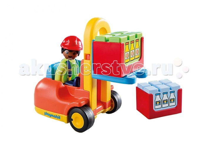 Конструктор Playmobil 1.2.3. Вилочный погрузчик1.2.3. Вилочный погрузчикКонструктор Playmobil 1.2.3. Вилочный погрузчик - незаменимый помощник для транспортировки игрушечных грузов. Подвижные вилы не только надежно держат объект, но и поднимают его на необходимую высоту. Кабина погрузчика хорошо фиксирует фигурку водителя, что делает любую игру веселее и реалистичнее. С помощью вилочного погрузчика можно загружать строительные машинки – грузовички, самосвалы, прицепы.  Набор хорошо сочетается с другими конструкторами Playmobil: «Грузовик с гаражом» 6759pm, «Самосвал» 6960pm, «Строитель с тачкой» 6961pm, «Большая ферма» 6750pm, «Трактор» 6794pm.   В наборе:    Погрузчик: 1 сидячее место, подъемные вилы с фиксатором, фаркоп, 2 подвижных колеса. Описание фигурок:  1 водитель погрузчика. У фигурки подвижные ноги (что помогает легко размещать ее на месте шофера), яркая униформа и защитная каска соответствуют тематике набора. В набор входят: 1 машинка - погрузчик, 1 фигурка человечка.  Дополнительные аксессуары: 2 ящика с грузом.   Серия 1.2.3 Playmobil - потрясающие конструкторы из Германии для детей от 1,5 до 3 лет! С первой маленькой фигурки и до последней большой детали ребенок будет увлечен и восхищен разнообразием, функциональностью, оригинальным дизайном и удобными формами игрушек.<br>