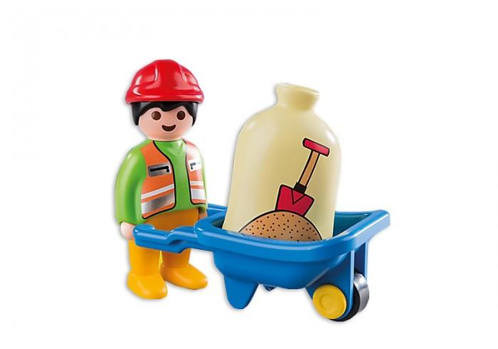 Конструктор Playmobil 1.2.3. Строитель с тачкой1.2.3. Строитель с тачкойКонструктор Playmobil 1.2.3. Строитель с тачкой - настоящий помощник для тех детей, которые любят строить. Фигурка строителя может передвигать тачку – просто закрепите ручки тележки в пазы на руках строителя. Теперь работа на игрушечной стройке закипит! Можно перевозить мешок с песком (входит в набор) от дома к грузовой машине, а можно перевозить инструменты и даже хозяйственные материалы на ферме. Какую бы игру не выбрал ваш малыш, строитель с тачкой станут прекрасным ее дополнением.  Набор хорошо сочетается с другими конструкторами Playmobil: «Грузовик с гаражом» 6759pm, «Самосвал» 6960pm, «Экскаватор» 6775pm, «Большая ферма» 6750pm, «Вилочный погрузчик» 6959pm   В наборе:    Тачка: одноколесная тележка с большим корытом, два опоры на дне поддерживают тачку, когда она стоит на месте. Описание фигурок:  1 строитель. У фигурки подвижные ноги (что помогает легко размещать ее в сидячем положении), пазы на руках идеально подходят для крепления ручек тачки. Яркая униформа и защитная каска соответствуют тематике набора.  Дополнительные аксессуары: 1 мешок с песком.   Серия 1.2.3 Playmobil - потрясающие конструкторы из Германии для детей от 1,5 до 3 лет! С первой маленькой фигурки и до последней большой детали ребенок будет увлечен и восхищен разнообразием, функциональностью, оригинальным дизайном и удобными формами игрушек.<br>