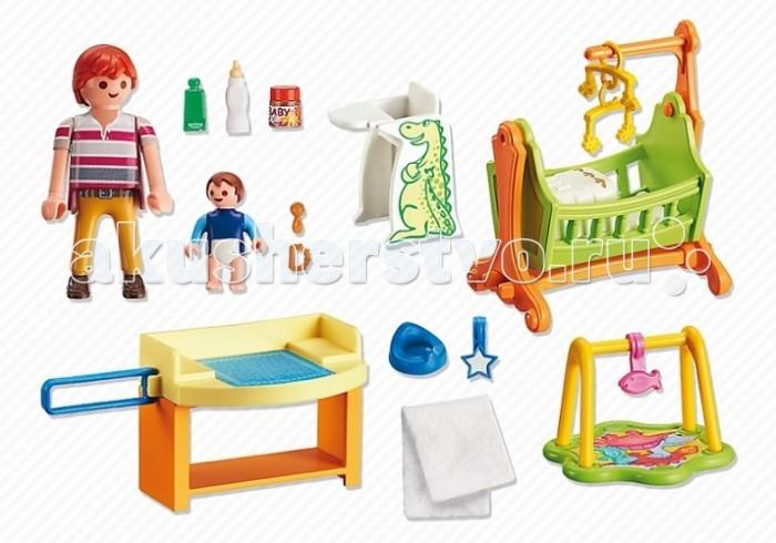 Конструктор Playmobil Детская комната с люлькойДетская комната с люлькойКонструктор Кукольный домик Playmobil Детская комната с люлькой   В комплекте:    Фигурки: Мама с малышом  Мебель: люлька, пеленальный столик, стульчик для кормления  Аксессуары: еда в бутылочках и баночках, погремушки, горшок, полотенце, коврик для игр<br>