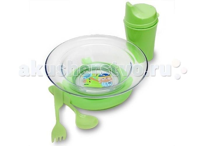 Бусинка Набор посуды: тарелочка на присоске, ложка, вилка, поильник