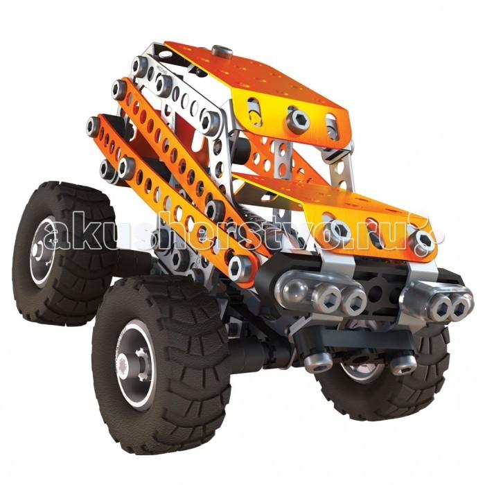 Конструктор Meccano Внедорожник 2 модели (190 деталей)Внедорожник 2 модели (190 деталей)Конструктор Meccano Внедорожник 2 модели (190 деталей) можно собрать одну из двух моделей на выбор: внедорожник или грузовик.   Основные детали представляют собой металлические пластины с отверстиями, который соединяются при помощи болтов, но также в набор входят подвижные элементы - широкие резиновые колеса и части подвески. Последняя, нужно отметить, действительно работает - вы почувствуете это, если попытаетесь надавить рукой на собранный автомобиль. В комплект включены инструменты, которые понадобятся для работы - отвертка и гаечный ключ.  Основная серия легендарных конструкторов Меккано, предназначенная для детей 7 – 9 лет, была существенно модернизирована в 2015 году. Модели приобрели более современный дизайн, детали окрашиваются цветом металлик, инструменты для сборки стали более удобными, а инструкции более понятными и наглядными.  Конструкторы Meccano придумал в 1901 году Фрэнк Хорнби, инженер-самоучка из Ливерпуля. Его идея заключалась в том, чтобы познакомить детей с основами настоящей инженерии, не слишком усложняя процесс. Судя по тому, что эти конструкторы пользуются спросом более сотни лет спустя, задумка удалась.<br>