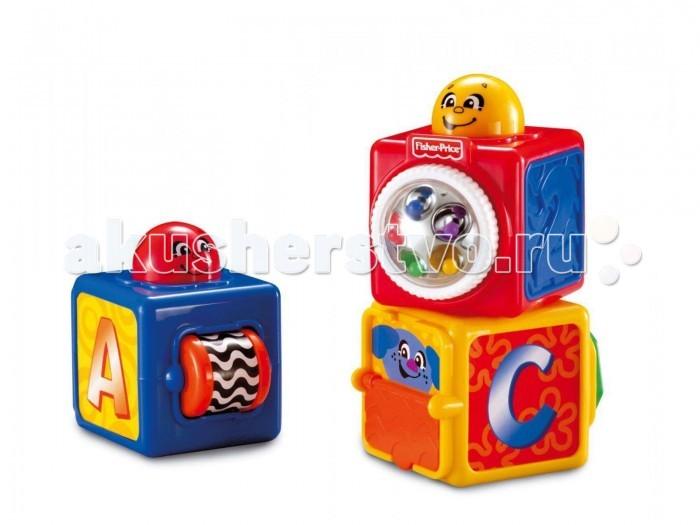 Развивающая игрушка Fisher Price Кубики с сюрпризамиКубики с сюрпризамиДля малышей от 6-ти месяцев.  В наборе 3 больших кубика (7х9х9h см) с разнообразными игровыми элементами на всех гранях. У каждого кубика есть свой сюрприз и улыбающийся человечек на верхней гране кубика, нажав на него, ребенок увидит и услышит, что за этим последует. Кубики можно ставить один на другой и, если нажать на верхний персонаж, - оживает вся башня.   Размер упаковки: 22х11х20 см.<br>