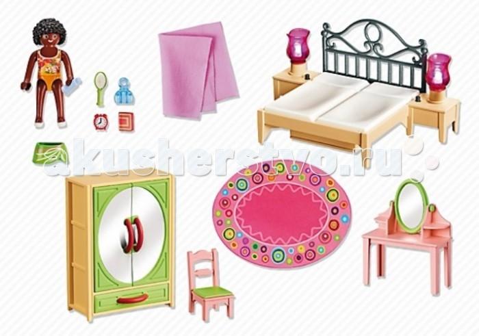 Конструктор Playmobil Спальная комната с туалетным столикомСпальная комната с туалетным столикомКонструктор Кукольный домик Playmobil Спальная комната с туалетным столиком  Дополнение к набору кукольный дом.   Это небольшая уютная комната родителей, включающая в себя кровать, прикроватные тумбочки с лампами, стул, шкаф, трюмо и фигурку человечка.<br>