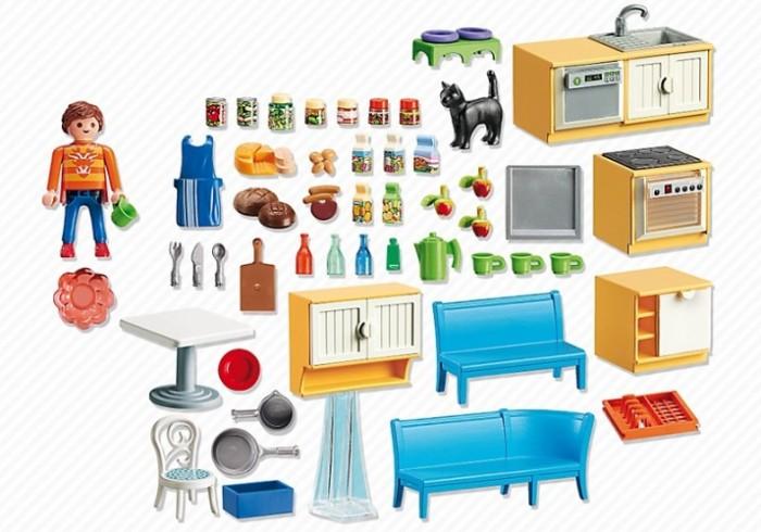 Конструктор Playmobil Встроенная кухня с зоной отдыхаВстроенная кухня с зоной отдыхаКонструктор Кукольный домик Playmobil Встроенная кухня с зоной отдыха  Эта современная встроенная кухня прекрасно впишется в любой дом плеймобил. На кухне есть все необходимое, что может понадобится хозяйке. Это мебель, бытовая техника, посуда, продукты питания и даже миска для кошки.  В комплекте фигурка хозяйки высотой 7,5 см и фигурка кошки, аксессуары.<br>