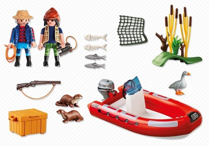 Конструктор Playmobil Лодка с браконьерамиЛодка с браконьерамиКонструктор В Поисках Приключений Playmobil Лодка с браконьерами  Браконьеры приехали на охоту и хотят поймать редкое животное. Лодка может плавать по воде, ее можно укомплектовать мотором (продается отдельно).  В наборе две фигурки браконьеров высотой 7,5 см, животные, лодка и аксессуары.<br>