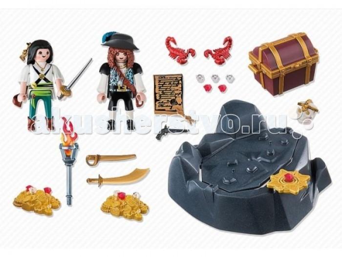Конструктор Playmobil Пиратский тайник с сокровищамиПиратский тайник с сокровищамиКонструктор Пираты Playmobil Пиратский тайник с сокровищами  Пираты спрятали свои сокровища в очень хитром месте. Сокровища охраняют два скорпиона. Но если перевернуть камень, под ним и найдутутся золото и бриллианты. Помести сокровища в сундук и отправляйся на корабль.  Высота фигурок 7,5 см<br>