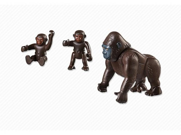 Конструктор Playmobil Горилла с детенышамиГорилла с детенышамиКонструктор Зоопарк Playmobil Горилла со своими детенышами  У взрослой гориллы подвижны передние и задние лапы, поворачиваются запястья, она может поднимать и опускать голову. У детенышей горилл подвижны лапы.<br>