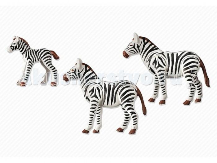 Конструктор Playmobil Семья ЗебрСемья ЗебрКонструктор Зоопарк Playmobil Семья Зебр  Животные могут поднимать и опускать голову. У взрослых подвижны все части тела.<br>
