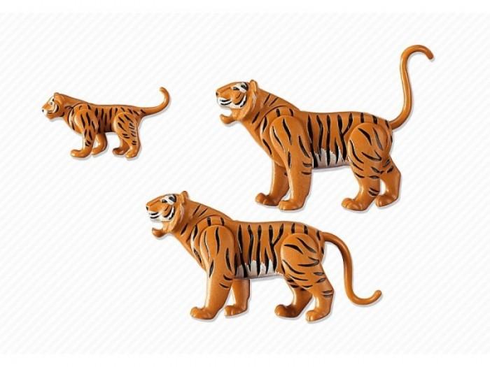 Конструктор Playmobil Семья ТигровСемья ТигровКонструктор Зоопарк Playmobil Семья Тигров  Животные могут поднимать и опускать голову.  У взрослых подвижны все части тела.<br>