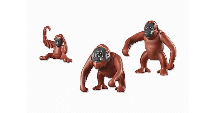 Конструктор Playmobil Семья ОрангутанговСемья ОрангутанговКонструктор Зоопарк Playmobil Семья Орангутангов  Животные могут поднимать и опускать голову.  У взрослых подвижны все части тела.<br>
