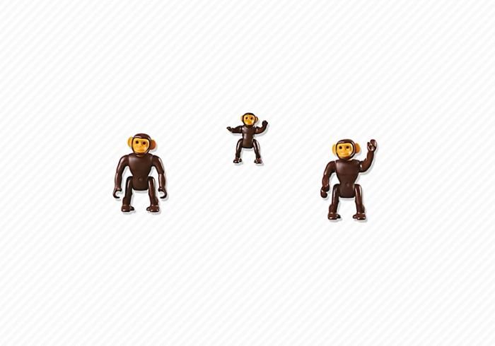 Конструктор Playmobil Семья ШимпанзеСемья ШимпанзеКонструктор Зоопарк Playmobil Семья Шимпанзе  Животные могут поднимать и опускать голову. У взрослых подвижны все части тела.<br>
