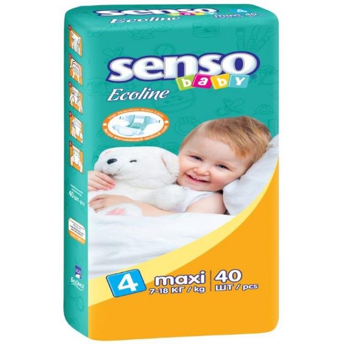 Senso Baby Подгузники Ecoline макси (7-18 кг) 40 шт.Подгузники Ecoline макси (7-18 кг) 40 шт.Подгузники Ecoline макси (7-18 кг) 40 шт. Senso Baby - это самые современные технологии, экологичное сырьё и непрерывный контроль качества для комфорта вашего малыша!  Подгузники гарантируют сухость на длительное время, безопасность для самой чувствительной кожи детей и непревзойдённое спокойствие во время сна и прогулок.  Особенности: надёжные и мягкие боковые барьерчики предохраняют от бокового протекания в любой ситуации многоразовые липучки гарантируют надёжную и комфортную фиксацию подгузников анатомическая форма подгузника обеспечивает идеальную посадку на теле малыша, как во время сна, так и во время активных игр дышащий наружный слой с мельчайшими микропорами, изготовленный из нетканого материала, предотвращает появление раздражения и опрелостей на чувствительной детской коже нежные и эластичные резиночки не сдавливают ножки малыша и не оставляют следов инновационная 3D-система впитывания состоит из нескольких слоёв и содержит улучшенный абсорбирующий материал (sap) и натуральную природную целлюлозу, обеспечивающие сверхвысокую впитываемость внутренняя поверхность подгузника мягкая и приятная на ощупь нанесённый крем-бальзам дополнительно ухаживает за нежной кожей ребёнка, а его состав абсолютно безвреден для кожи, ведь он прошёл системный контроль качества эластичные боковые ушки обеспечивают идеальное прилегание к телу малыша; ADL-технология равномерно распределяет влагу по всей поверхности впитывающего слоя, не допуская комкования.<br>