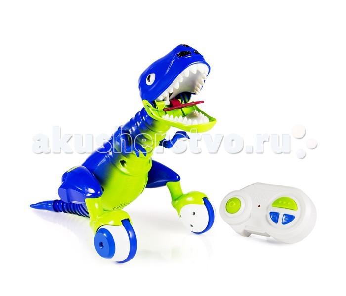Интерактивная игрушка Zoomer Dino Динозавр ЭволюцияDino Динозавр ЭволюцияИнтерактивная игрушка Zoomer Dino Динозавр Эволюция является не только частью известной серии Zoomer Dino, но и прямым потомком легендарного Дино Зумера. Веселый динозаврик эволюционировал, а вместе с этим обзавелся новой яркой окраской. Но, помимо этого, у знаменитого хищника появились новые способности и функции, которыми он спешит поделиться со своим новым владельцем.  Во-первых, был обновлён дизайн: теперь Dino Zoomer окрашен в стильные сине-зелёные цвета. Был переработан внешний вид и расположение кнопок на пульте управления. Улучшено поведение ящера в режиме автономной игры: ваш питомец самостоятельно передвигается по комнате и изучает окружающий его мир. Добавлены новые звуки. Благодаря новым роликам на задних лапах Дино Зумер может преодолевать различные препятствия во время движения.  Был добавлен новый режим для игры с динозавром: Режим патрулирования. В этом режиме роботу задаётся зона, по которой он передвигается и подаёт звуковые сигналы при обнаружении посторонних.  Если дёрнуть ящера за хвост или за шею — он разозлиться, выглядит очень забавно!  Встроенный аккумулятор игрушки заряжается через специальный кабель (входит в комплект). В пульт управления требуется установить 3 батарейки стандарта AAA.<br>